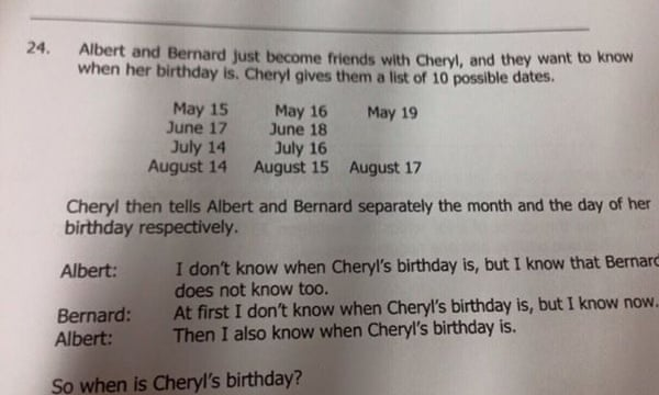 How to solve Albert, Bernard and Cheryl's birthday maths problem