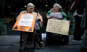 Disabled people protest against Atos handling of incapacity benefit claimants during the London Olympics.