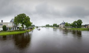 Boats in the flooded Vecht river following heavy rainfalls, in Ommen, Netherlands in May 2014.