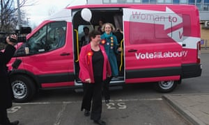 Labour's pink battlebus in Thornaby on Tees