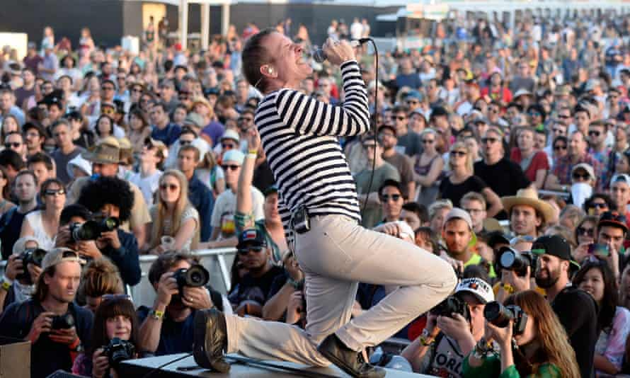 Stuart Murdoch of Belle and Sebastian performs onstage at Coachella.
