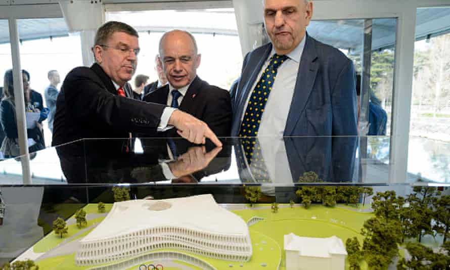International Olympic Committee president, Thomas Bach with a model of the future IOC headquarters