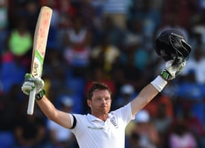 He celebrates scoring his 22nd Test century for England.