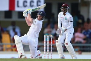 Ben Stokes hits a straight six off the bowling of Sulieman Benn.