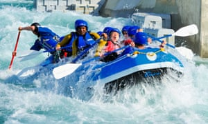 Extreme rafting at the White Water Centre  in Lee Valley.