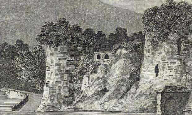 Print of Cardigan Castle by J Greig in 1786.