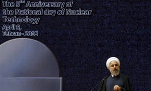 Iranian president Hassan Rouhani delivers a speech marking National Nuclear Technology Day in Tehran on 9 April 2015.