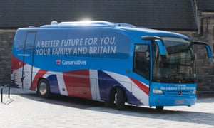 The words on the bus go round and round. David Cameron arrives in Swindon in a Conservative campaign coach to unveil the party's manifesto.