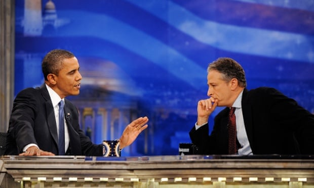Jon Stewart gave Barack Obama one of his toughest interviews, suggesting his 2008 election slogan should have been 'Yes we can, but…'