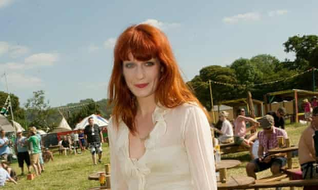 Florence Welch, backstage at Glastonbury in 2010.