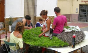 Villagers and artists at work in Fanzara, Spain.