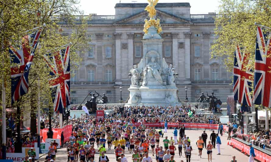 London Marathon runners on the Mall in central London
