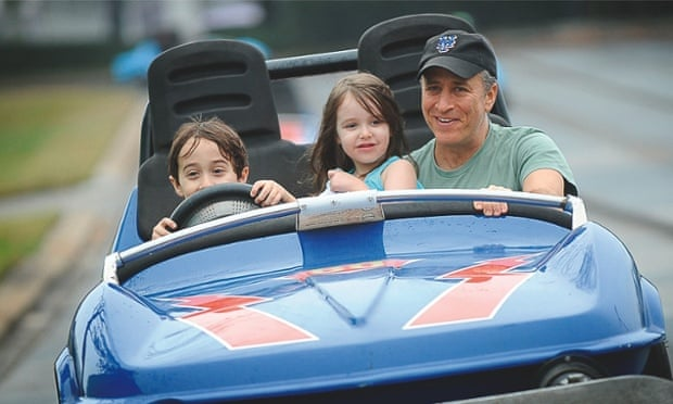 Jon Stewart with his children, Nathan and Maggie, in 2011.