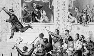 Illustration of assassin John Wilkes Booth running to the stage after shooting Abraham Lincoln at Ford's Theatre, Washington DC, April 14, 1865.
