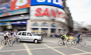 Cyclists in Piccadilly Circus.