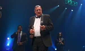 Tonie van der Merwe receives the Heroes and Legends award at the Sabela Films awards ceremony, at the Durban international film festival in 2014.