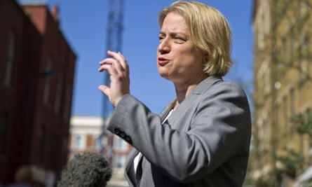 Green Party leader Natalie Bennett speaks to journalists after launching the party's general election manifesto in London on 14 April 2015.