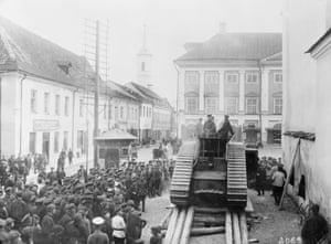Men of Estonia's tiny army organise in the main square of Narva on 27 September 1939. The Soviets would invade the following year.