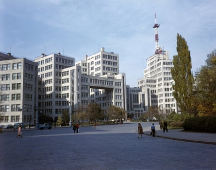 State Industry House on Dzerzhinsky Square, now called Freedom Square, in Kharkiv.