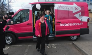 Emma Reynolds, shadow communities minister, and Louise Baldock (left), Labour's candidate for Stockton South, with the party's campaign minibus
