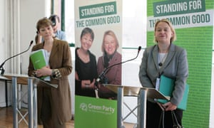 The Green party manifesto launch with leader Natalie Bennett, right, and Brighton MP Caroline Lucas.