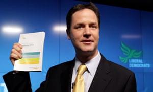 Nick Clegg launching the Lib Dem manifesto in 2010.
