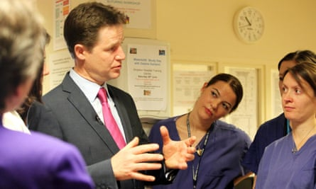 Nick Clegg talks to nurses in the maternity unit at Kingston hospital, Surrey, before the last election in 2010.