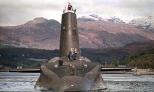 The Royal Navy's Trident-class nuclear submarine Vanguard.