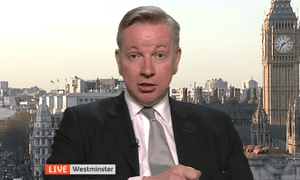 Michael Gove interviewed on Channel 4 news.