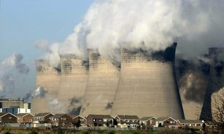 Cooling towers for a coal-fired power station.