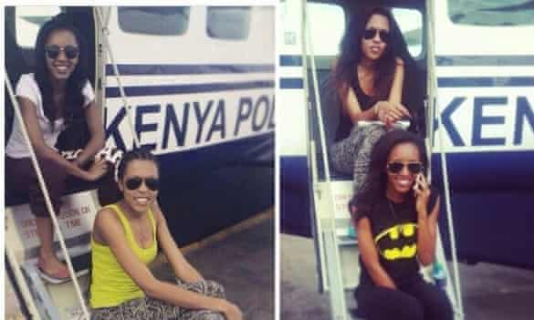 Ndanu Munene Mbithi, second from left, understood to be daughter-in-law of police air-wing commandant Rogers Mbithi, poses with an unidentified friend by the police plane in a picture she uploaded to her Instagram page.