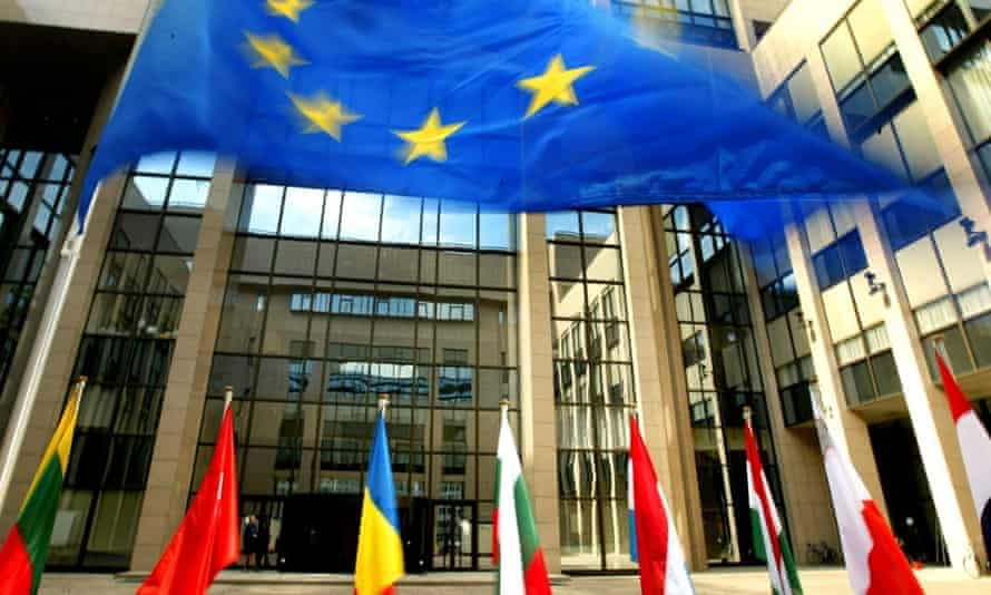 The flag of the European Union at the entrance of  European council headquarters in Brussels
