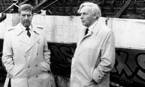 Bradford City chairman Stafford Heginbotham, left, with Mr Justice Popplewell, at Valley Parade after the disaster.