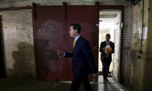 Nick Clegg arrives before the unveiling of his party's manifesto in central London.