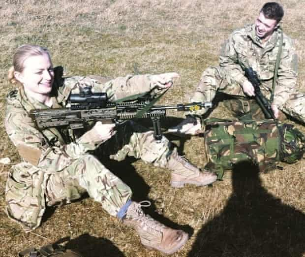 Rosie Kay Dance Company members Shelley Eva Haden and Oliver Russell prepare for a military exercise with 4th Battalion the Rifles