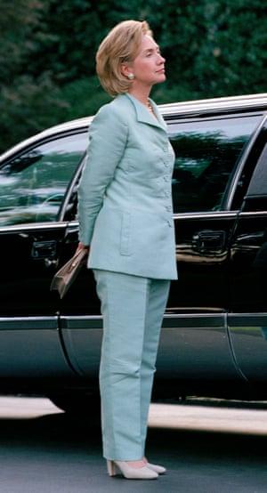 Hillary Clinton in her trademark pantsuit in 1989