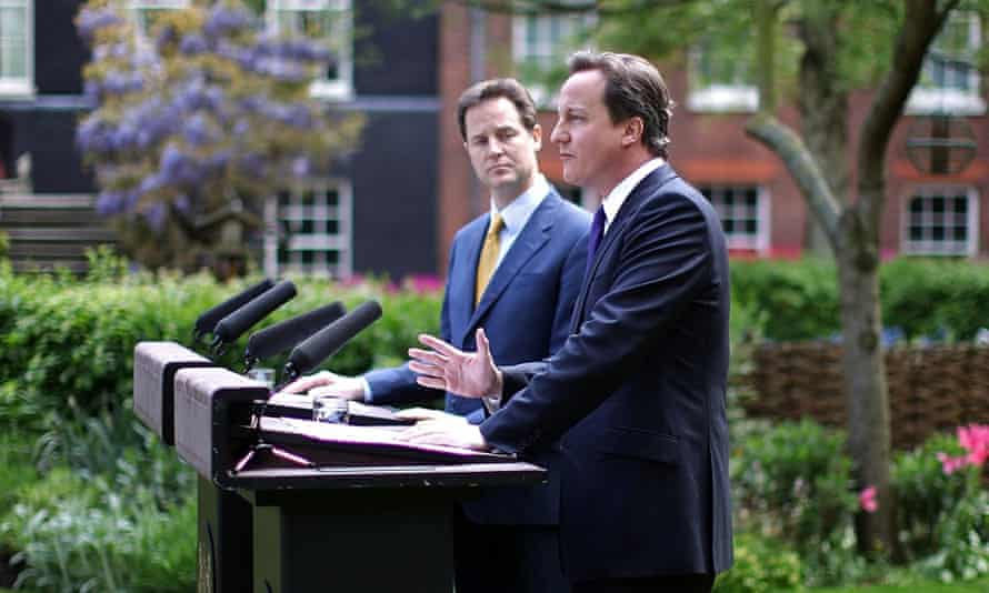 Nick Clegg and David Cameron speaking after the formation of the coalition government in 2010.