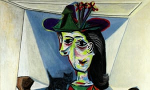 "Picasso's 1941 portrait of his mistress, ""Dora Maar with Cat"", is seen in this handout photo."