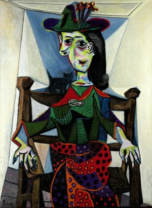 "Picasso's 1941 portrait of his mistress, ""Dora Maar with Cat"", is seen in this handout photo. The painting sold for an outstanding $95 million at Sotheby's on May 4, 2006, becoming the second most expensive painting in auction history. It had been expecting to sell for upwards of $40 million, but the winning bid of $95, 216, 000, including commission, caught even Sotheby's officials by surprise.  REUTERS/Handout"