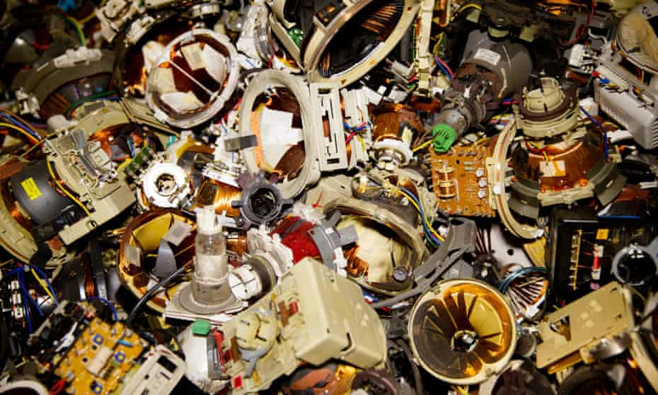 Pile of metal parts to be recycled