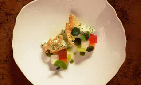 'Bright and fresh': crab with melon and cucumber.
