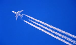 A plane leaving vapour trails