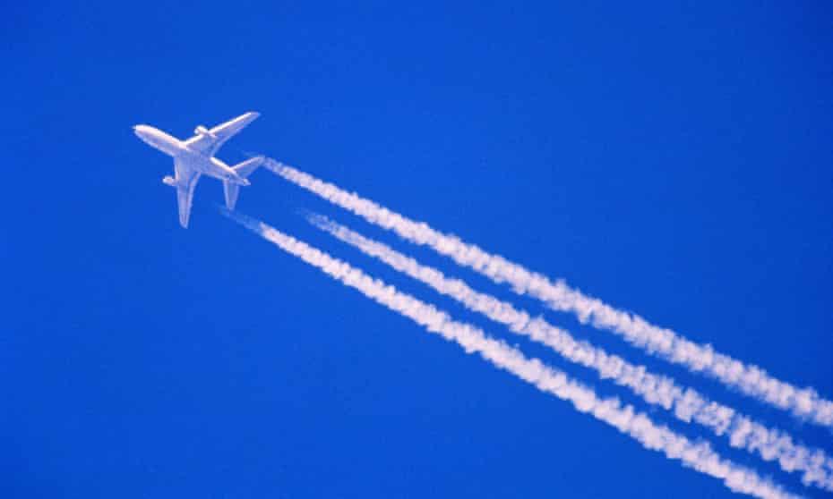 A plane leaving vapour trails