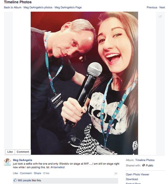 Meg DeAngelis' selfie from MIPTV.
