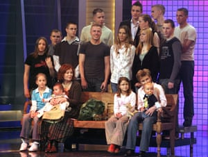 Annegret Raunigk (front row) appeared on a TV show with her children and grandchildren in 2005 on German channel RTL – it and Bild newspaper have bought the exclusive rights to her story.