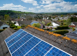 Solar panels on a roof in Totnes, Devon.