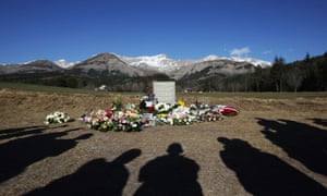 Relatives visit a stela commemorating the victims of the 24 March Germanwings Airbus A320 crash in the village of Le Vernet, south-eastern France.