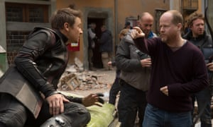 Joss do it: Whedon directs Jeremy Renner, who plays Hawkeye.