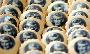 Biscuits with sugar-paper images of Samuel Beckett
