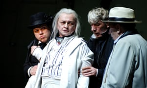 Radical … the Berliner Ensemble production of  Waiting for Godot. From left: Michael Rothmann( Estragon), Roman Kaminskii (Lucky), Axel Werner (Wladimir) and Gerd Kunath (Pozzo).